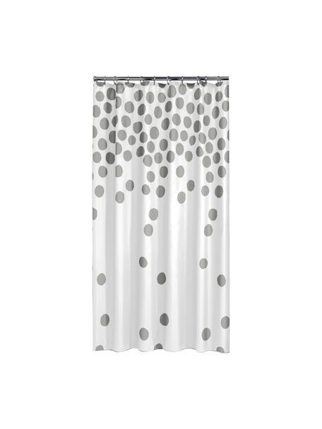 Zasłona prysznicowa Spots, Tworzywo sztuczne (PEVA), produkt wodoodporny, Biały, odcienie srebrnego, S 180 x D 200 cm