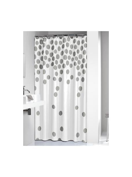 Douchegordijn Spots in wit/zilverkleur, Kunststof (PEVA), waterdicht, Wit, zilverkleurig, 180 x 200 cm