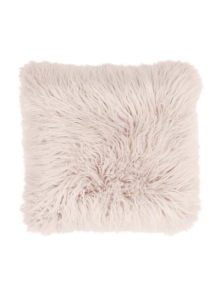 Flauschige Kunstfell-Kissenhülle Morten in Rosa, gelockt, Vorderseite: 67% Acryl, 33% Polyester, Rückseite: 100% Polyester, Rosa, 40 x 40 cm