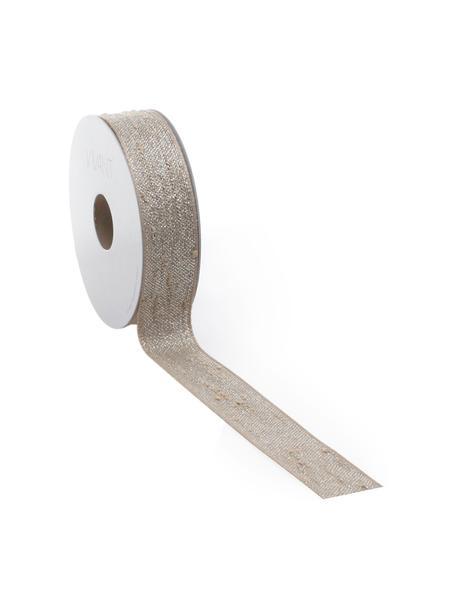 Geschenkband Boucle mit Lurex-Fäden, 55% Polyester, 45% Lurexfaden, Braun, Silberfarben, 3 x 1000 cm