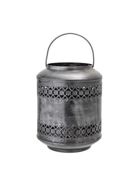 Lanterna in metallo Lora, Metallo spazzolato, Grigio, Ø 18 x Alt. 22 cm