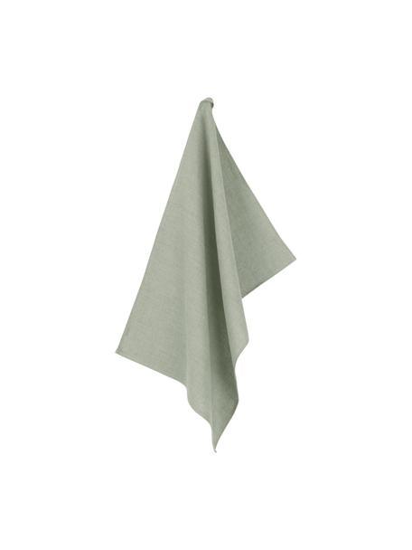 Ręcznik kuchenny z lnu Heddie, 100% len, Szarozielony, S 50 x D 70 cm