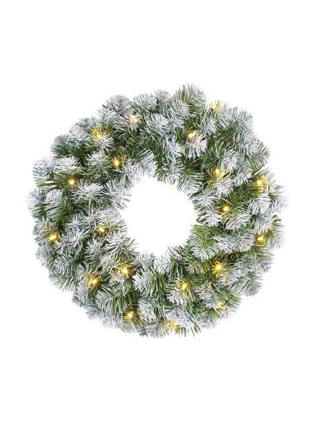 Decoratieve LED kerstkrans Norton, Kunststof, Groen, wit, Ø 45 cm
