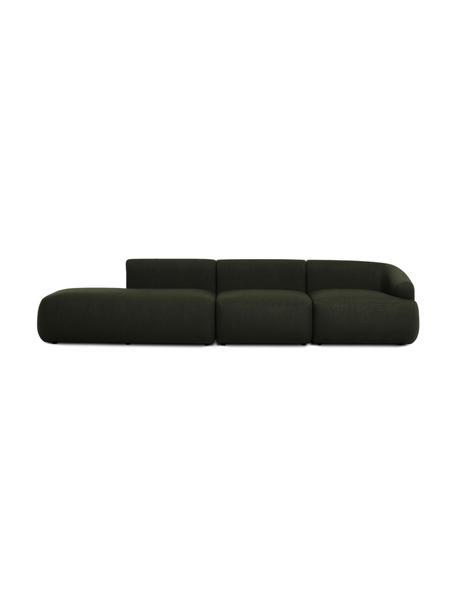 Modulaire chaise longue Sofia, groen, Bekleding: 100% polypropyleen, Frame: massief grenenhout, spaan, Poten: kunststof, Geweven stof groen, B 340 x D 95 cm