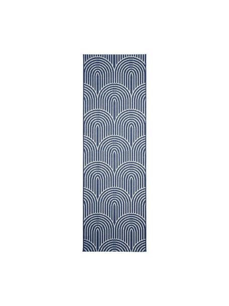 Passatoia da interno-esterno color blu/bianco crema Arches, 86% polipropilene, 14% poliestere, Blu, bianco, Larg. 80 x Lung. 250 cm