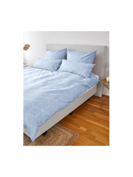 Pościel z bawełny Lynn, Jasny niebieski, kremowobiały, 135 x 200 cm + 1 poduszka 80 x 80 cm