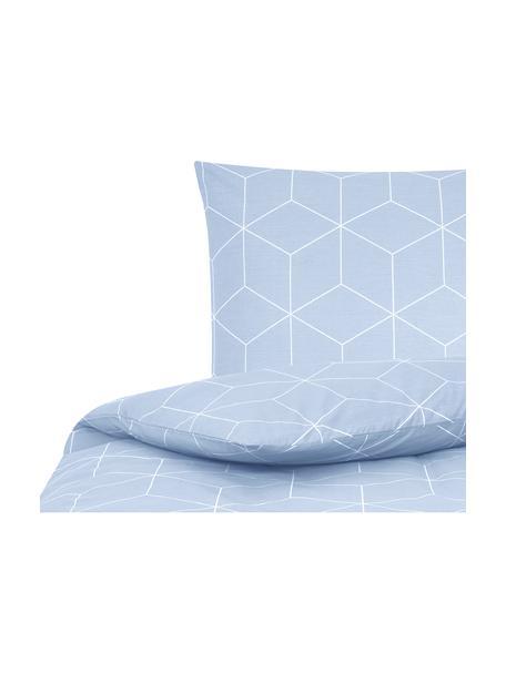 Pościel z bawełny Lynn, Jasny niebieski, kremowy, 135 x 200 cm + 1 poduszka 80 x 80 cm