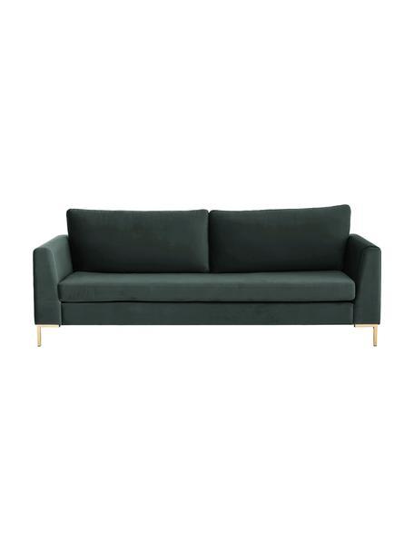 Samt-Sofa Luna (3-Sitzer) in Dunkelgrün mit Metall-Füßen, Bezug: Samt (Polyester) Der hoch, Gestell: Massives Buchenholz, Füße: Metall, galvanisiert, Samt Dunkelgrün, Gold, B 230 x T 95 cm