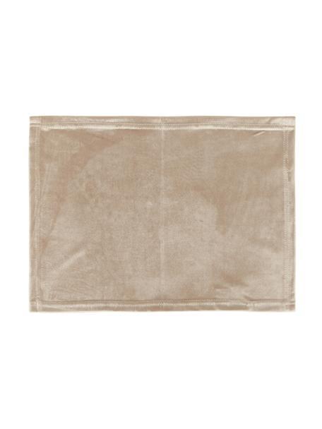 Fluwelen placemats Simone, 2 stuks, 100% polyester fluweel, Beige, 35 x 45 cm