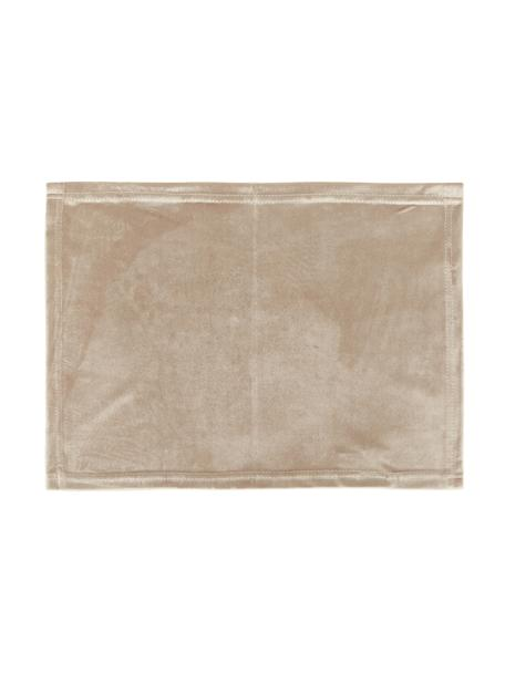 Tovaglietta americana in velluto beige Simone 2 pz, Velluto di poliestere, Beige, Larg. 35 x Lung. 45 cm