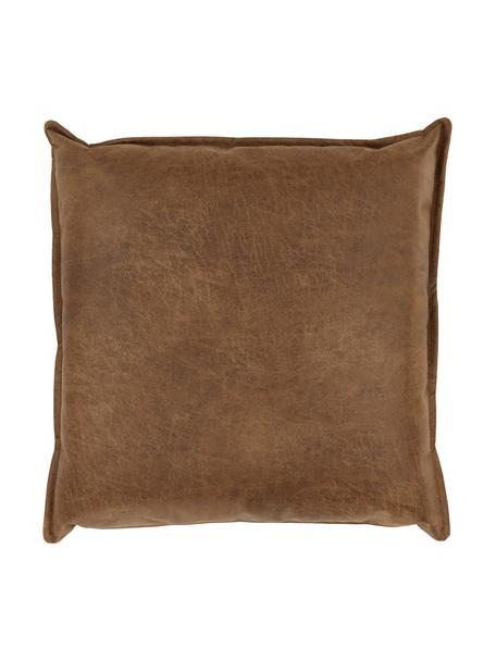 Poduszka ze skóry z recyklingu Lennon, Tapicerka: skóra z recyklingu (70% s, Brązowy, S 60 x D 60 cm