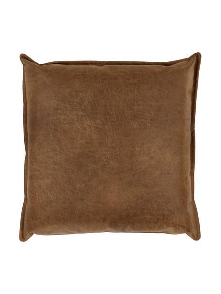 Poduszka ze skóry z recyklingu Lennon, Tapicerka: skóra z recyklingu (70% s, Skórzany brązowy, S 60 x D 60 cm