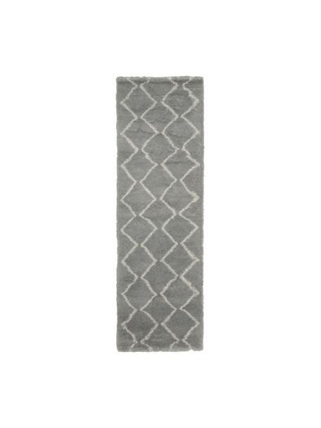 Hochflor-Läufer Velma in Grau/Creme, Flor: 100% Polypropylen, Grau, Cremeweiß, 80 x 250 cm