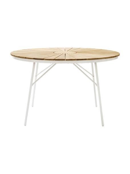 Mesa redonda para jardín de madera Hard & Ellen, Tablero: teca, lijada, Estructura: aluminio con pintura en p, Teca, blanco, Ø 110 x Al 73 cm