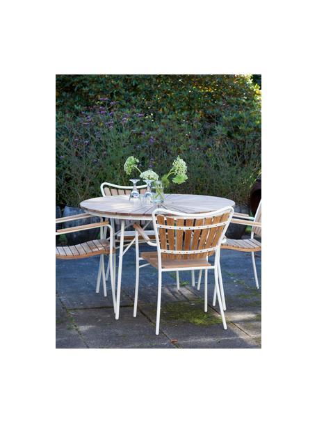 Tavolo rotondo da giardino con piano in teak Hard & Ellen, Struttura: alluminio, verniciato a p, Piano d'appoggio: legno di teak, naturale, Teak, bianco, Ø 110 x Alt. 73 cm