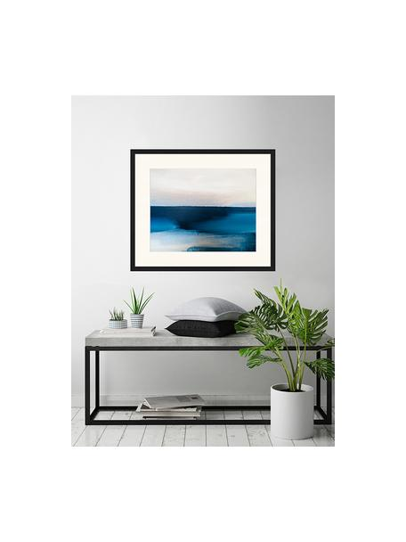 Stampa digitale incorniciata Blue And Grey Abstract Art, Immagine: stampa digitale su carta,, Cornice: legno, verniciato, Multicolore, Larg. 63 x Alt. 53 cm