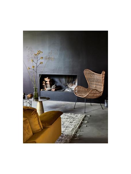 Samt-Sofa Retro (4-Sitzer) in Gelb mit Metall-Füssen, Bezug: Polyestersamt 86.000 Sche, Korpus: Mitteldichte Holzfaserpla, Samt Ocker, B 245 x T 83 cm