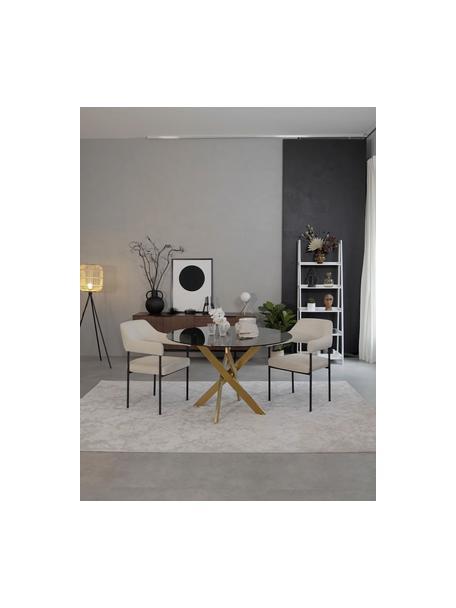 Mesa de comedor George, tablero de cristal, Tablero: vidrio tintado, Patas: metal con pintura en polv, Latón, Ø 120 x Al 75 cm