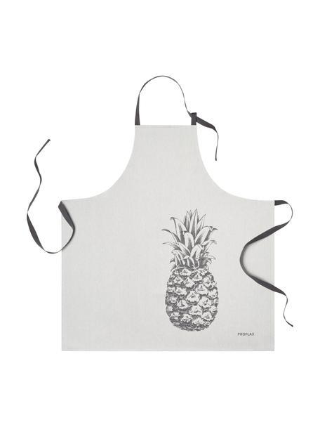 Katoenen schort Ananas, 100% katoen, Grijstinten, 80 x 80 cm