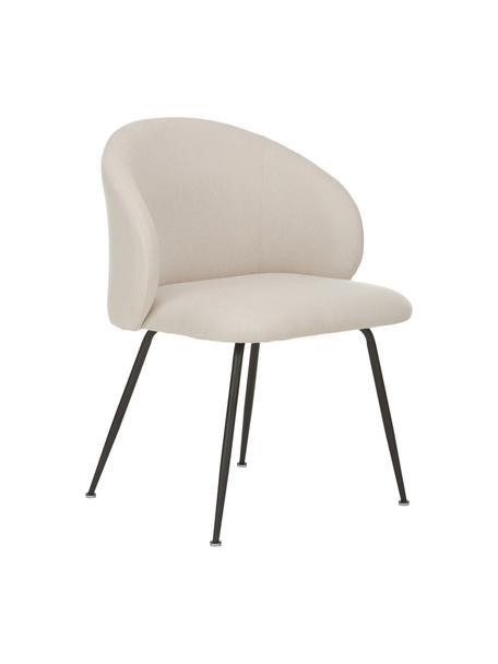 Gestoffeerde stoelen Luisa, 2 stuks, Bekleding: 100% polyester, Poten: gepoedercoat metaal, Geweven stof beige, zwart, B 61 x D 58 cm