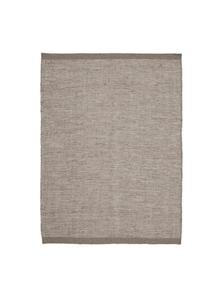 Handgeweven wollen vloerkleed Asko in grijstinten, Bovenzijde: 90% wol, 10% katoen, Onderzijde: katoen, Lichtgrijs, grijs, B 200 x L 300 cm (maat L)