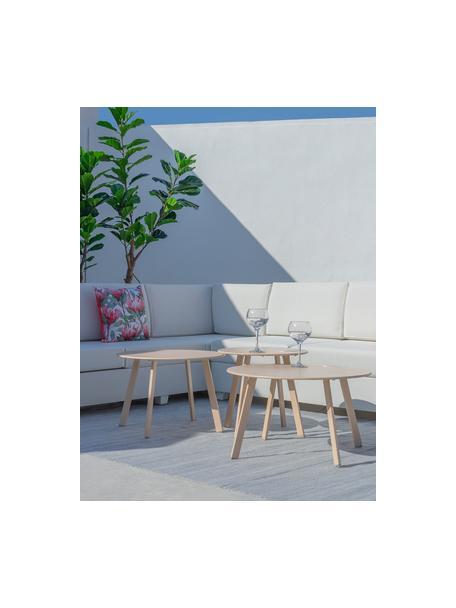 Mesa auxiliar de exterior Marzia, Acero epoxidado, Beige, Ø 70 x Al 40 cm