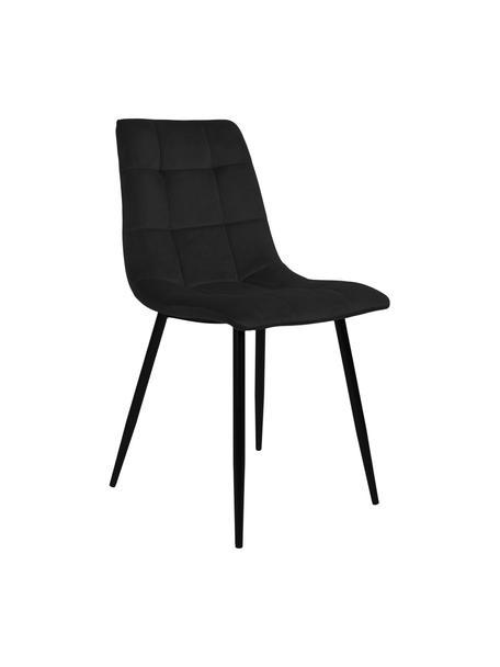 Krzesło tapicerowane z aksamitu Middleton, Tapicerka: aksamit poliestrowy, Nogi: metal powlekany, Czarny, S 44 x G 55 cm