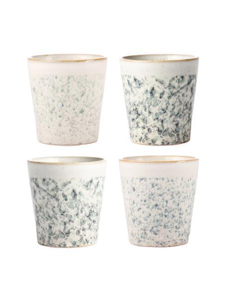 Set 4 tazze senza manico fatte a mano stile retrò 70's, Gres, Verde, bianco, Ø 8 x Alt. 8 cm