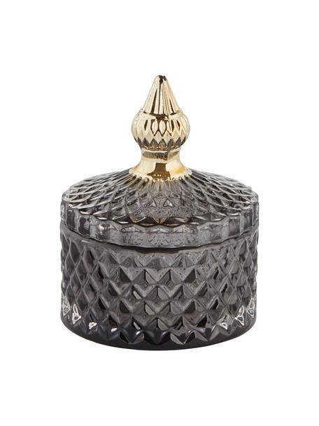 Bote decorativo Miya, Vidrio, Gris oscuro transparente, dorado, Ø 9 x Al 11 cm