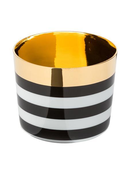 Tazza senza manico in porcellana Sip of Gold, Bordo: oro placcato, Nero, bianco, dorato, Ø 9 x Alt. 7 cm