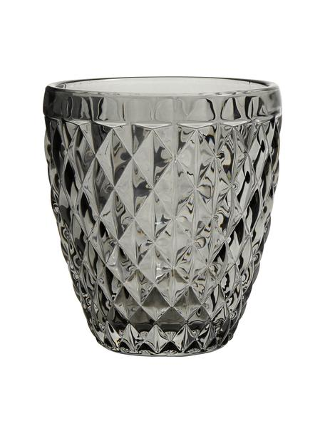 Vasos con relieve Diamond, 6uds., Vidrio, Gris oscuro, ligeramente transparente, Ø 9 x Al 10 cm