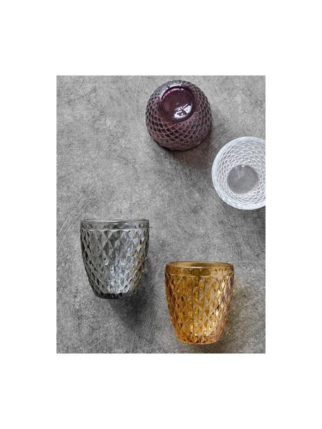 Wassergläser Diane mit Relief, 6 Stück, Glas, Rauchgrau, leicht transparent, Ø 9 x H 10 cm