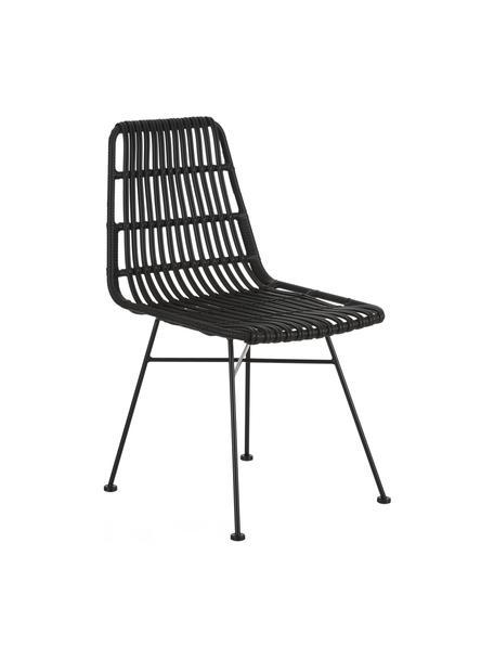 Polyrotan stoelen Costa, 2 stuks, Zitvlak: polyethyleen-vlechtwerk, Frame: gepoedercoat metaal, Zitvlak: zwart. Frame: mat zwart, B 47 x D 61 cm