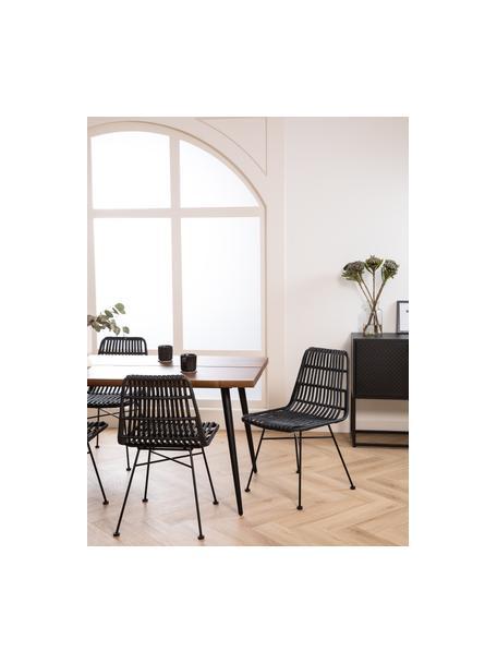 Krzesło z polirattanu Costa, 2 szt., Stelaż: metal malowany proszkowo, Czarny, S 47 x G 61 cm