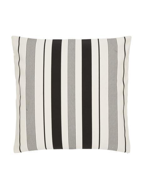 Federa arredo a righe color bianco crema/nero Raji, 100% cotone, Bianco, nero, Larg. 45 x Lung. 45 cm