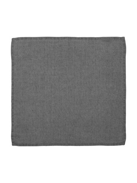 Stoffen servetten Ruta, 6 stuks, Grijs, 43 x 43 cm
