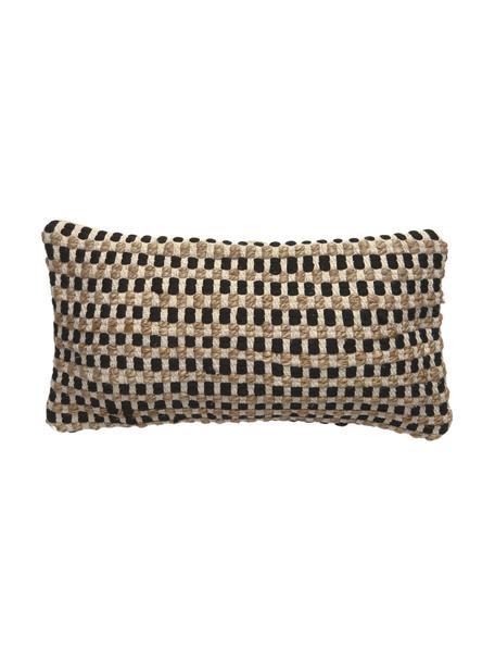 Kissenhülle Fiesta aus Baumwolle/Jute, Vorderseite: 55% Chindi Baumwolle, 45%, Rückseite: 100% Baumwolle, Schwarz, Beige, 30 x 60 cm