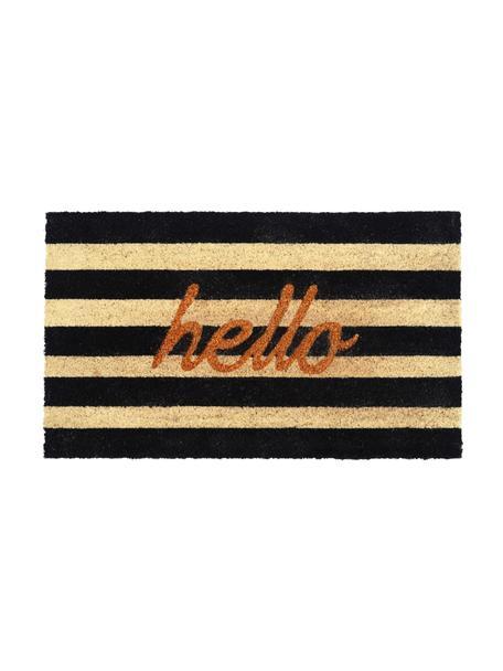 Fußmatte Hello mit Streifen, Oberseite: Kokosfaser, Unterseite: Vinyl, Schwarz, Beige, Goldfarben, 45 x 75 cm