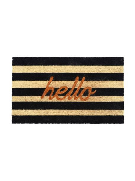 Zerbino a righe Hello, Nero, beige, dorato, Larg. 45 x Lung. 75 cm