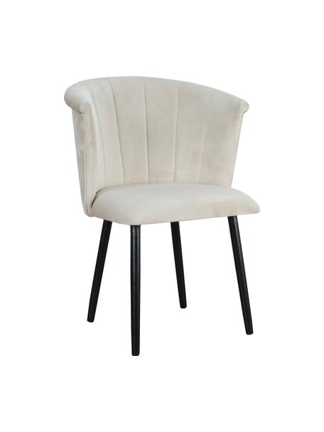 Krzesło tapicerowane z aksamitu Lisa, Tapicerka: aksamit (100% poliester), Nogi: drewno naturalne, fornir, Aksamitny kremowy, nogi: czarny, S 63 x G 55 cm