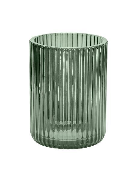 Porta spazzolini in vetro Antoinette, Vetro, Verde oliva, Ø 8 x Alt. 10 cm