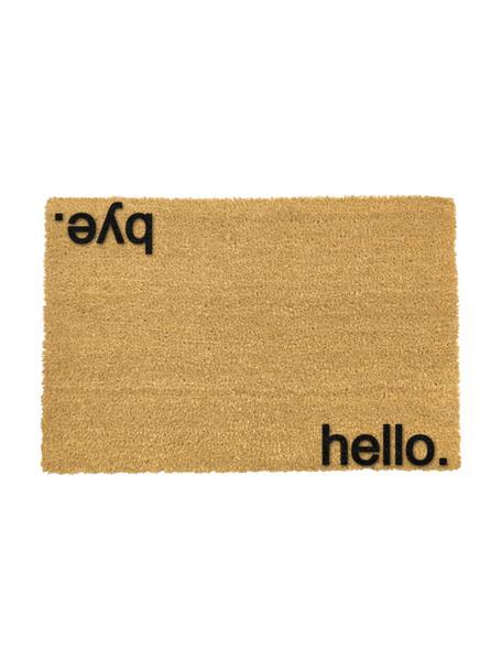 Felpudo Hello Bye, Fibras de coco, Felpudo: beige, Inscripción: negro, An 40 x L 60 cm