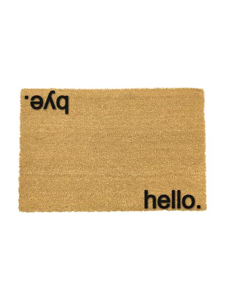 Fussmatte Hello Bye, Kokosfaser, Fussmatte: Beige, Schriftzug: Schwarz, 40 x 60 cm