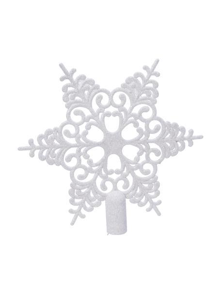 Bruchsichere Weihnachtsbaumspitze Adele Ø 19 cm, Kunststoff, Weiss, glänzend, 21 x 19 cm