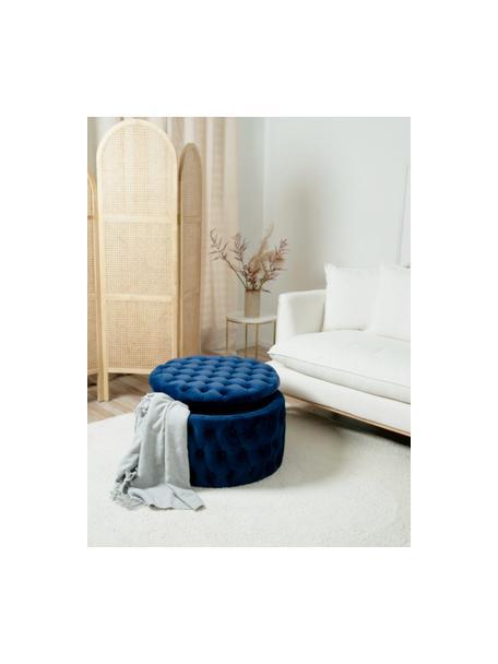 XL Samt-Hocker Chiara mit Stauraum, Bezug: Samt (Polyester) Der hoch, Korpus: Eukalyptusholz, Blau, Ø 70 x H 42 cm