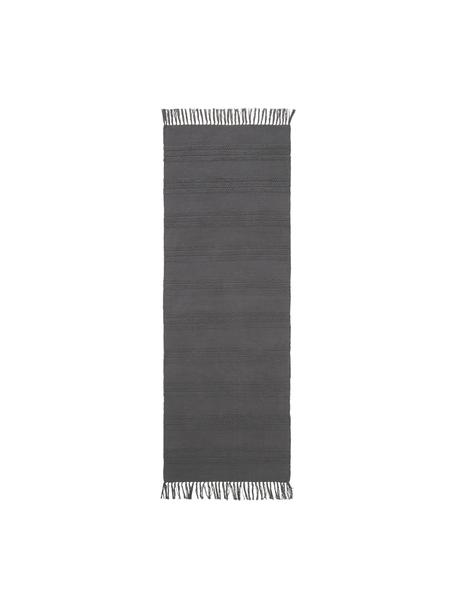 Alfombra de algodón con flecos Tanya, 100%algodón, Gris oscuro, An 70 x L 200 cm