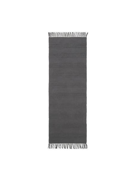 Passatoia in cotone a righe  tono su tono con frange Tanya, 100% cotone, Grigio scuro, Larg. 70 x Lung. 200 cm