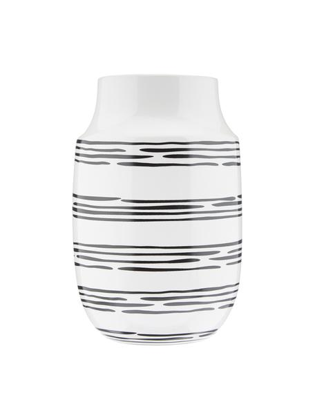 Vaso bianco a strisce fatto a mano Dora, Ceramica, Bianco crema, nero, Ø 13 x Alt. 20 cm
