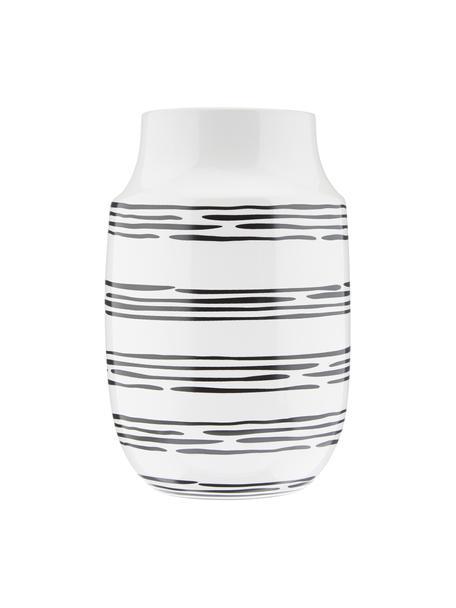 Vaso fatto a mano Dora, Ceramica, Bianco crema, nero, Ø 13 x Alt. 20 cm