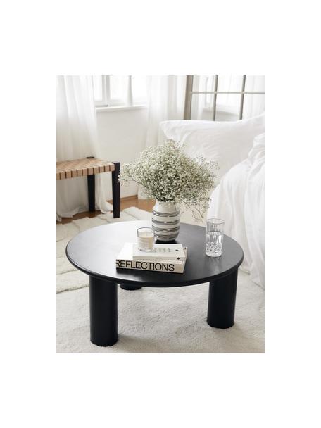 Jarrón artesanal Dora, Cerámica, Blanco crema, negro, Ø 13 x Al 20 cm